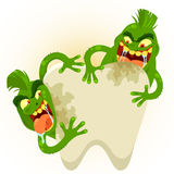 Cartoon tooth germs. Two cartoon germs destroying a tooth Stock Photos