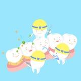 Cartoon tooth on gum stock illustration