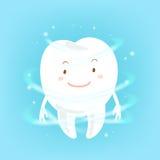 Cartoon tooth with health concept Stock Photos