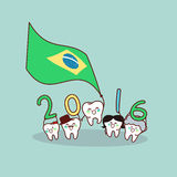 Cartoon tooth hold brazil flag Royalty Free Stock Image