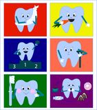 Cartoon tooth holding tooth brush and giving thumb up stock illustration