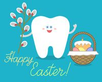 Cartoon tooth holds a willow branch, stands near Easter basket with bread or traditional cake, eggs. vector illustration
