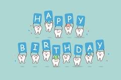 Cartoon tooth jump with billboard. Cute cartoon tooth jump with billboard,happy birthday, great for health dental care concept vector illustration