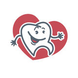 Cartoon tooth logo template for child dentistry or dental toothpaste product label tag. Stock Image