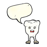 Cartoon tooth looking afraid with speech bubble Royalty Free Stock Photos