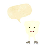 Cartoon tooth looking afraid with speech bubble Stock Photography
