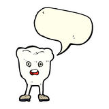 Cartoon tooth looking afraid with speech bubble Royalty Free Stock Photography