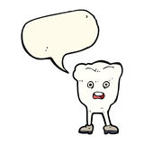 Cartoon tooth looking afraid with speech bubble Royalty Free Stock Photo