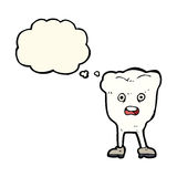 Cartoon tooth looking afraid with thought bubble Stock Images