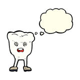 Cartoon tooth looking afraid with thought bubble Royalty Free Stock Images