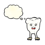 Cartoon tooth looking afraid with thought bubble Royalty Free Stock Photography