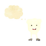 Cartoon tooth looking afraid with thought bubble Stock Image
