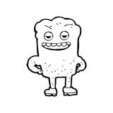 Cartoon tooth looking smug. Black and White Line cartoon in retro style.  Vector available Stock Photography