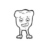 Cartoon tooth looking smug. Black and White Line cartoon in retro style.  Vector available Royalty Free Stock Photo
