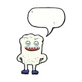 Cartoon tooth looking smug with speech bubble Royalty Free Stock Photography