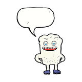 Cartoon tooth looking smug with speech bubble Stock Images