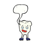 Cartoon tooth looking smug with speech bubble Royalty Free Stock Image