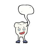 Cartoon tooth looking smug with speech bubble Stock Image