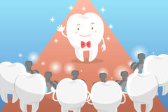 Cartoon tooth with paparazzi. Cute cartoon tooth with paparazzi on the blue background Stock Images