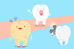 Cartoon tooth with paparazzi. Cute cartoon tooth with decay problem and paparazzi on the blue background Stock Image