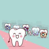 Cartoon tooth with paparazzi. Great for health dental care concept Royalty Free Stock Photography