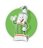 Cartoon Tooth Pasta tube show okay vector illustration eps10 Royalty Free Stock Image