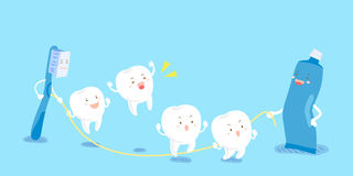 Cartoon tooth play happily Royalty Free Stock Photo