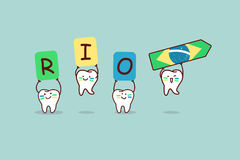 Cartoon tooth with rio sign Royalty Free Stock Photography