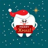 Cartoon tooth in Santa hat. Merry Christmas from dentistry. Smiling cartoon tooth in Santa hat with plate. Merry Christmas! Greeting card from dentistry royalty free illustration