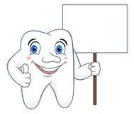 Cartoon tooth with sign Stock Photos