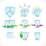 Cartoon tooth, teeth icon set, cartoon characters. Family, protecting, couple, with ribbons, with toothbrush, with caries. royalty free illustration