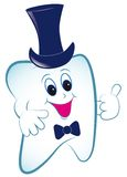 Cartoon tooth with thumb and hat. Royalty Free Stock Photography
