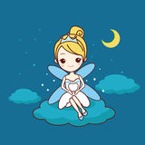 Cartoon tooth with tooth fairy. Great for dental care concept royalty free illustration