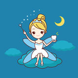 Cartoon tooth with tooth fairy. And magic wand, great for dental care concept royalty free illustration