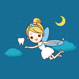 Cartoon tooth with tooth fairy. And magic wand, great for dental care concept vector illustration