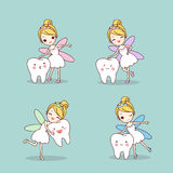 Cartoon  tooth with tooth fairy Royalty Free Stock Photography