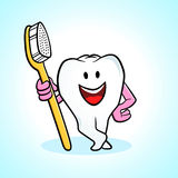 Cartoon tooth and toothbrush Stock Photography