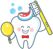 Cartoon Tooth With Toothpaste And Mirror Royalty Free Stock Photography
