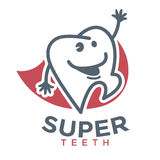 Cartoon tooth vector logo template children dentistry dental product. Cartoon tooth logo template for child dentistry or dental toothpaste product label tag Stock Images