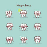 Cartoon tooth wear brace Stock Image