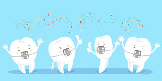 Cartoon tooth wear brace Royalty Free Stock Photos
