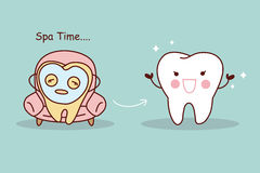 Cartoon tooth whiten concept. Happy cartoon tooth with facial mask, great for tooth whiten concept Stock Photos