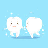 Cartoon tooth with whiten. Cute cartoon tooth smile with whiten on blue background Stock Images