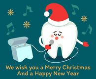 Cartoon tooth wishing Merry Christmas!. Singing cartoon tooth in Santa red hat with dental floss. Merry Christmas! Greeting card from dentistry, poster with stock illustration