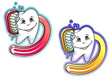 Cartoon toothbrush and paste Royalty Free Stock Images