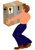 Cartoon topless man holding big box back view Royalty Free Stock Photo