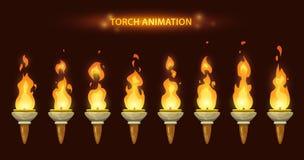 Cartoon torch animation. Cartoon torch animation frames set. Fire sprites set Stock Photo
