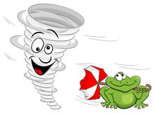 Cartoon tornado with frog Stock Photos