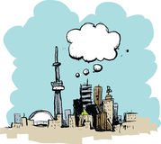 Cartoon Toronto Thinking Royalty Free Stock Photography