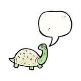 Cartoon tortoise with speech bubble. Retro cartoon with texture. Isolated on White royalty free illustration